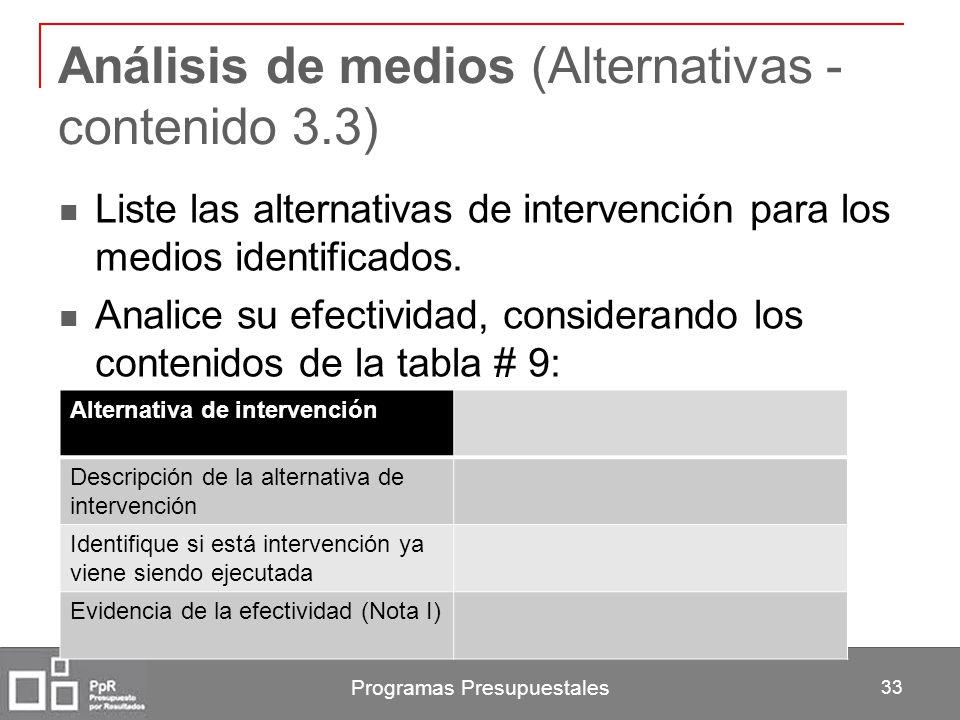 Programas Presupuestales 33 Análisis de medios (Alternativas - contenido 3.3) Liste las alternativas de intervención para los medios identificados. An