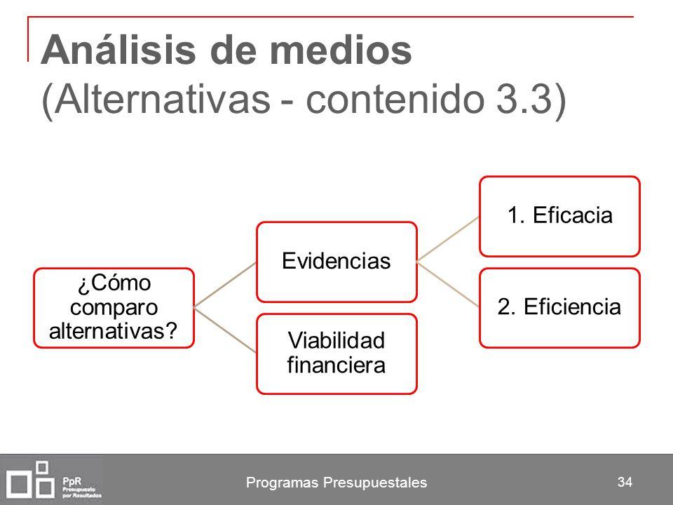 Análisis de medios (Alternativas - contenido 3.3) ¿Cómo comparo alternativas? Evidencias1. Eficacia2. Eficiencia Viabilidad financiera Programas Presu
