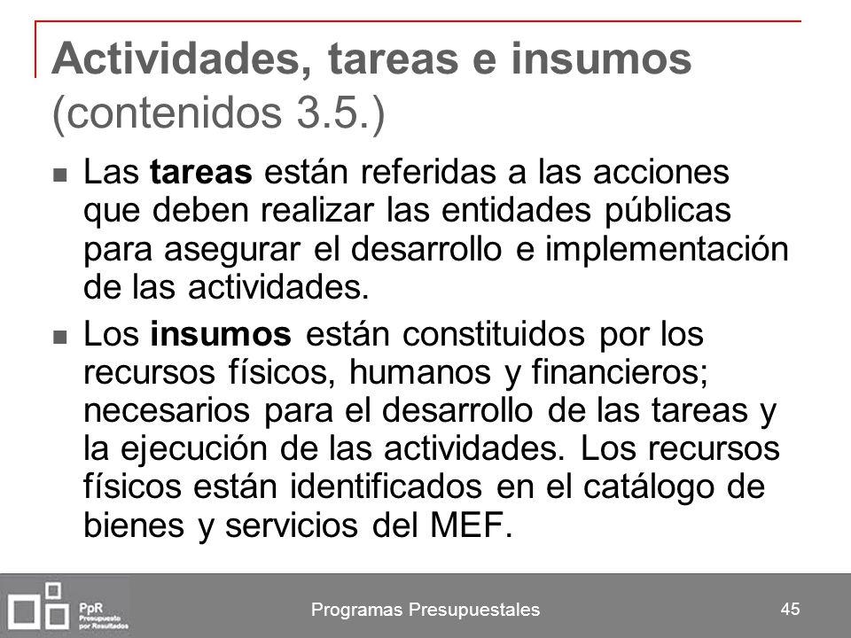 Programas Presupuestales 45 Actividades, tareas e insumos (contenidos 3.5.) Las tareas están referidas a las acciones que deben realizar las entidades