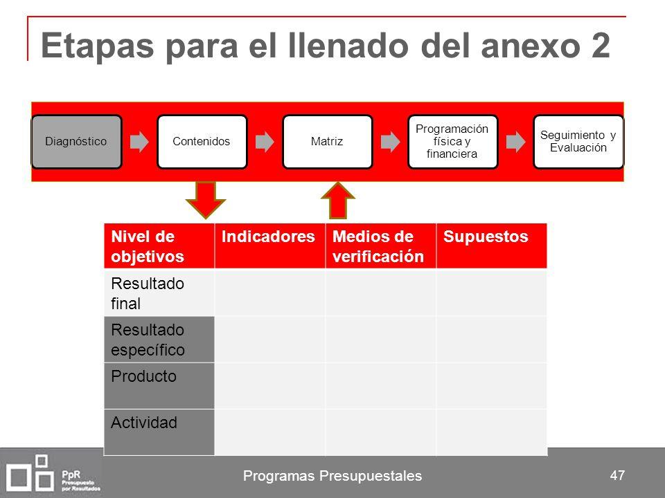 Programas Presupuestales 47 Etapas para el llenado del anexo 2 DiagnósticoContenidosMatriz Programación física y financiera Seguimiento y Evaluación N