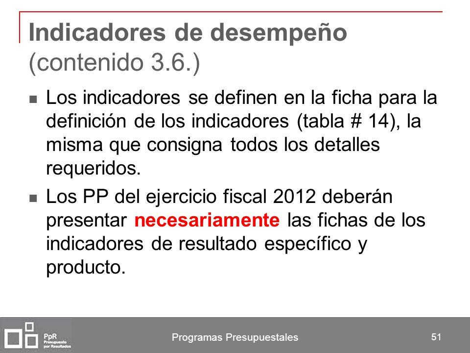 Programas Presupuestales 51 Indicadores de desempeño (contenido 3.6.) Los indicadores se definen en la ficha para la definición de los indicadores (ta