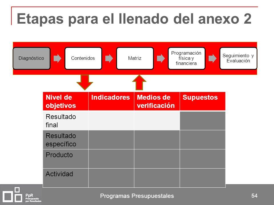 Programas Presupuestales 54 Etapas para el llenado del anexo 2 DiagnósticoContenidosMatriz Programación física y financiera Seguimiento y Evaluación N