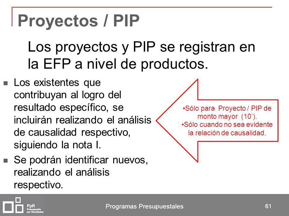 Programas Presupuestales 61 Proyectos / PIP Los existentes que contribuyan al logro del resultado específico, se incluirán realizando el análisis de c