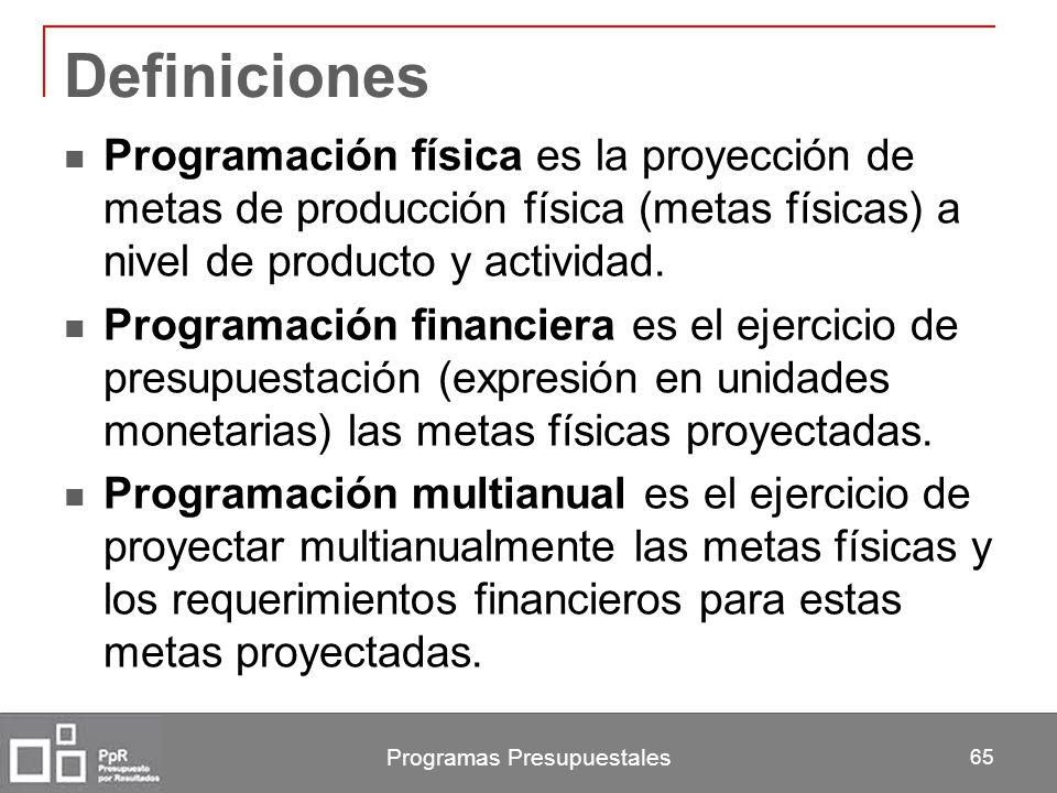Programas Presupuestales 65 Definiciones Programación física es la proyección de metas de producción física (metas físicas) a nivel de producto y acti