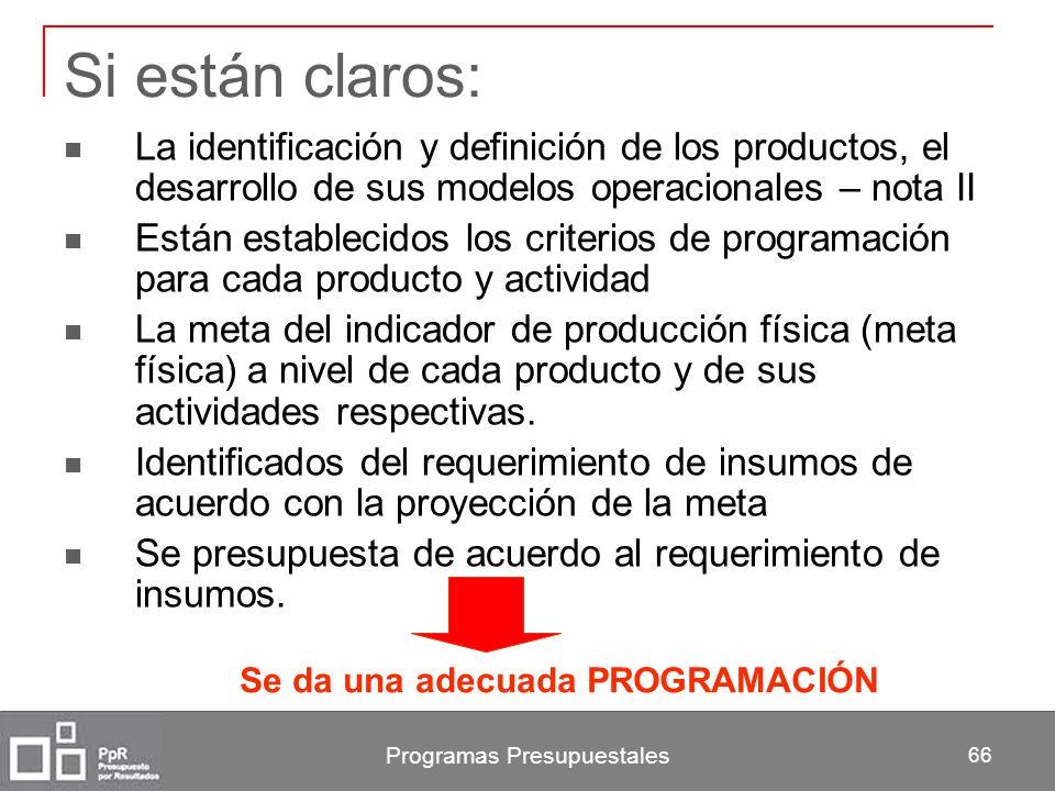 Programas Presupuestales 66 Si están claros: La identificación y definición de los productos, el desarrollo de sus modelos operacionales – nota II Est