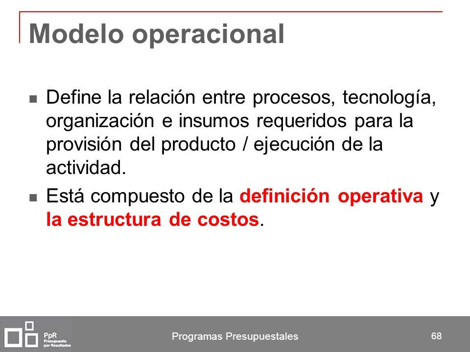 Programas Presupuestales 68 Modelo operacional Define la relación entre procesos, tecnología, organización e insumos requeridos para la provisión del