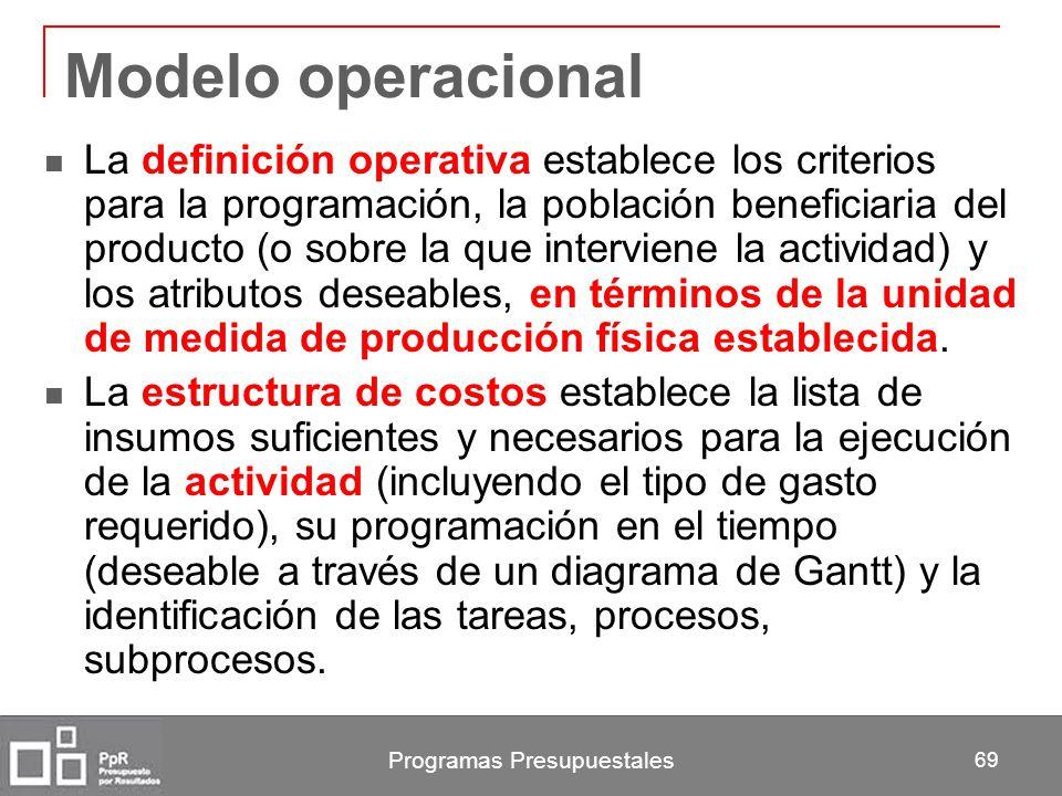 Programas Presupuestales 69 Modelo operacional La definición operativa establece los criterios para la programación, la población beneficiaria del pro