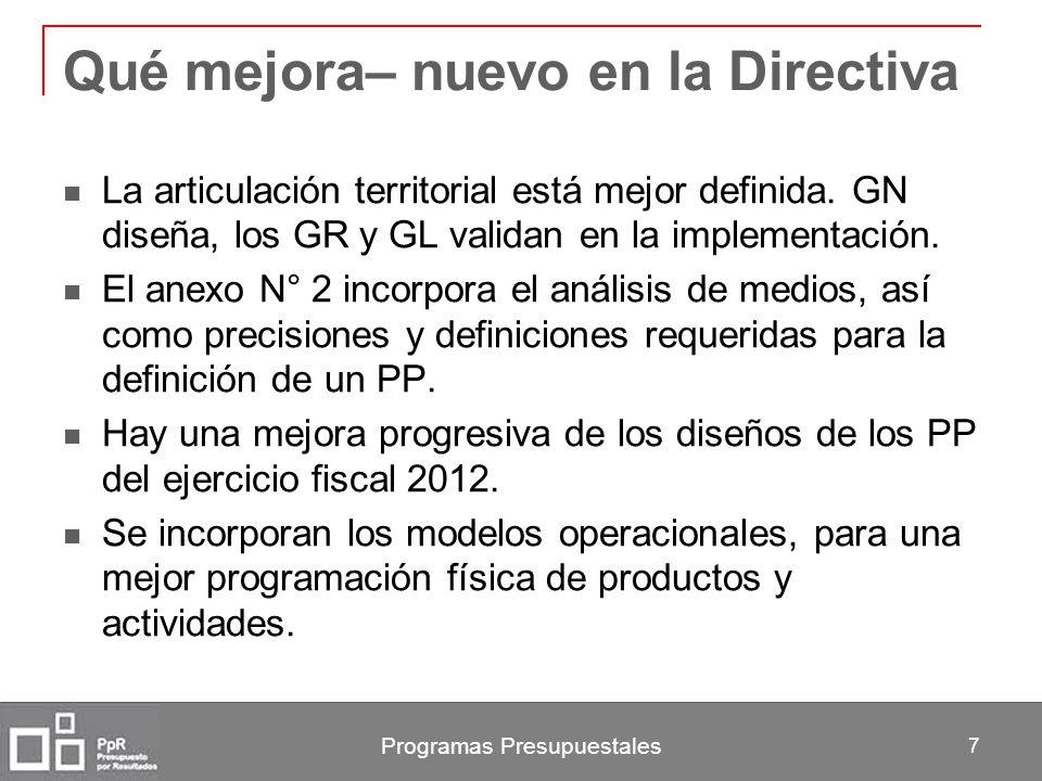 Programas Presupuestales 7 Qué mejora– nuevo en la Directiva La articulación territorial está mejor definida. GN diseña, los GR y GL validan en la imp