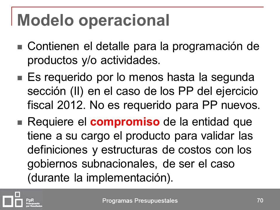 Programas Presupuestales 70 Modelo operacional Contienen el detalle para la programación de productos y/o actividades. Es requerido por lo menos hasta