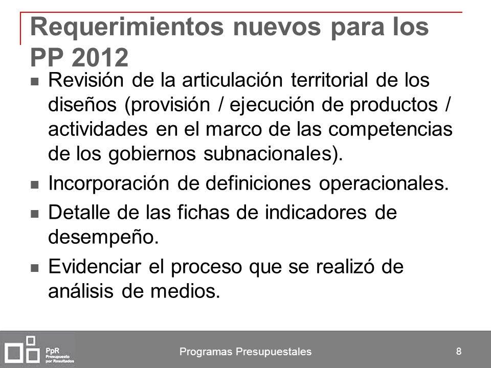 Programas Presupuestales 8 Requerimientos nuevos para los PP 2012 Revisión de la articulación territorial de los diseños (provisión / ejecución de pro