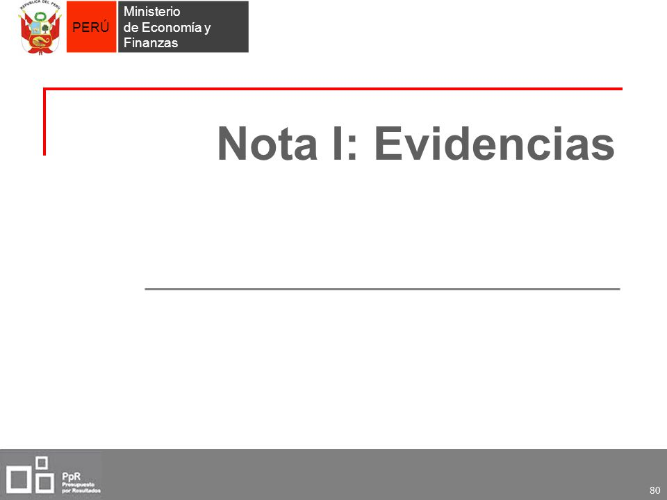 PERÚ Ministerio de Economía y Finanzas 80 Nota I: Evidencias
