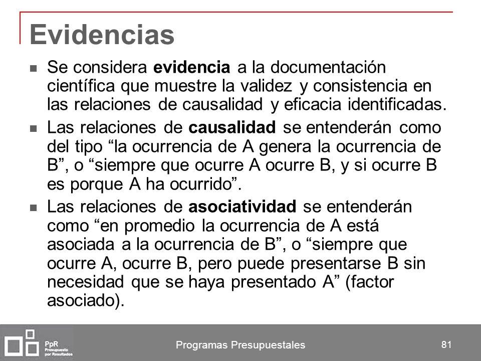 Programas Presupuestales 81 Evidencias Se considera evidencia a la documentación científica que muestre la validez y consistencia en las relaciones de