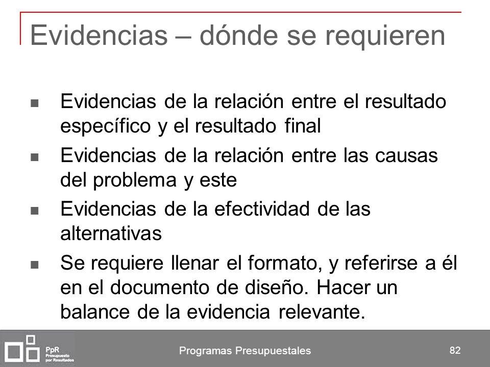Programas Presupuestales 82 Evidencias – dónde se requieren Evidencias de la relación entre el resultado específico y el resultado final Evidencias de