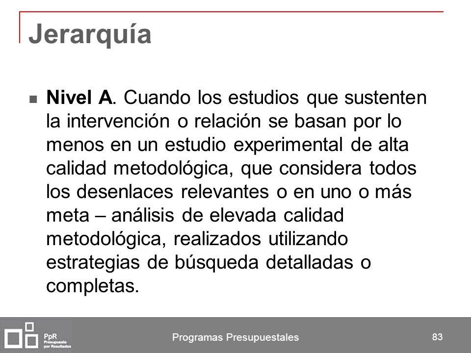 Programas Presupuestales 83 Jerarquía Nivel A. Cuando los estudios que sustenten la intervención o relación se basan por lo menos en un estudio experi