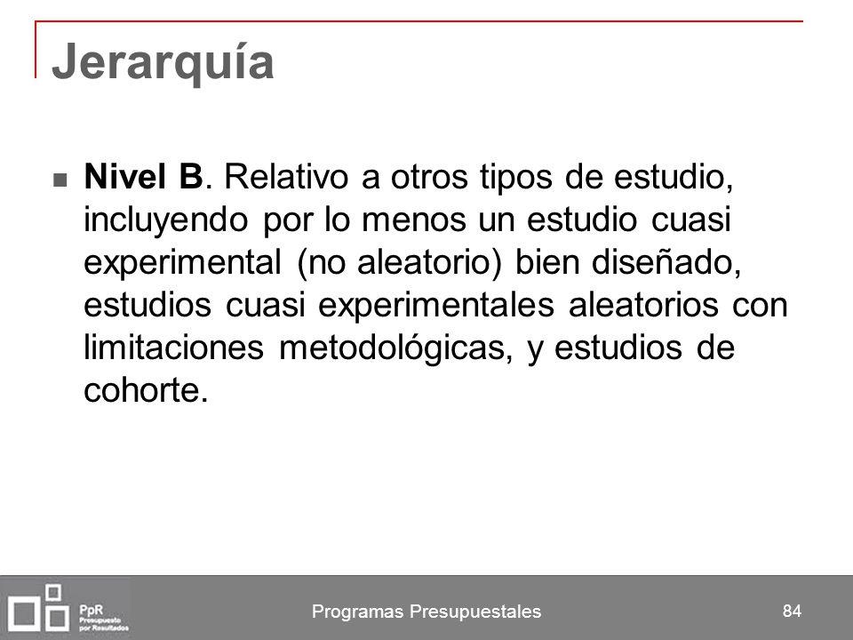 Programas Presupuestales 84 Jerarquía Nivel B. Relativo a otros tipos de estudio, incluyendo por lo menos un estudio cuasi experimental (no aleatorio)