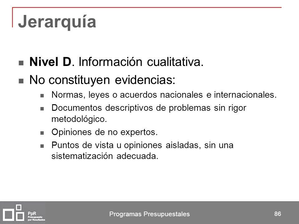 Programas Presupuestales 86 Jerarquía Nivel D. Información cualitativa. No constituyen evidencias: Normas, leyes o acuerdos nacionales e internacional