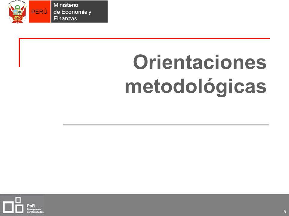 PERÚ Ministerio de Economía y Finanzas 9 Orientaciones metodológicas