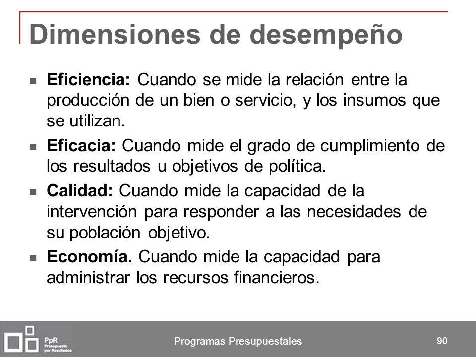 Programas Presupuestales 90 Dimensiones de desempeño Eficiencia: Cuando se mide la relación entre la producción de un bien o servicio, y los insumos q