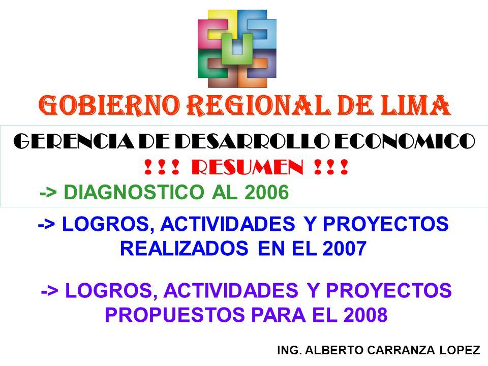 GOBIERNO REGIONAL DE LIMA GERENCIA DE DESARROLLO ECONOMICO ! ! ! RESUMEN ! ! ! -> DIAGNOSTICO AL 2006 -> LOGROS, ACTIVIDADES Y PROYECTOS REALIZADOS EN