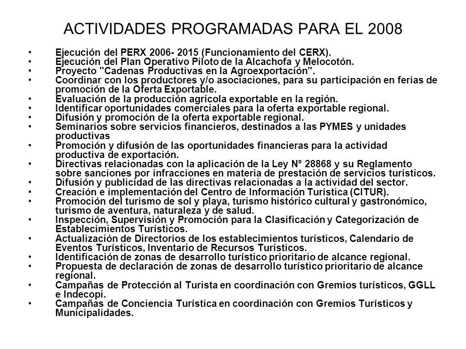 ACTIVIDADES PROGRAMADAS PARA EL 2008 Ejecución del PERX 2006- 2015 (Funcionamiento del CERX). Ejecución del Plan Operativo Piloto de la Alcachofa y Me
