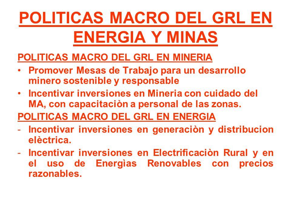 POLITICAS MACRO DEL GRL EN ENERGIA Y MINAS POLITICAS MACRO DEL GRL EN MINERIA Promover Mesas de Trabajo para un desarrollo minero sostenible y respons