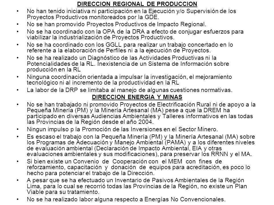 DIRECCION REGIONAL DE PRODUCCION No han tenido iniciativa ni participación en la Ejecución y/o Supervisión de los Proyectos Productivos monitoreados p
