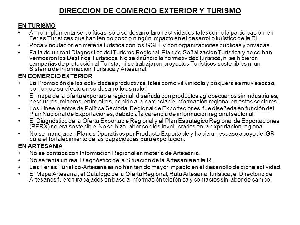 DIRECCION DE COMERCIO EXTERIOR Y TURISMO EN TURISMO Al no implementarse políticas, sólo se desarrollaron actividades tales como la participación en Fe
