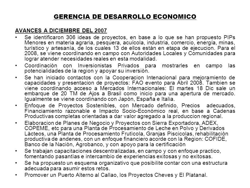 GERENCIA DE DESARROLLO ECONOMICO AVANCES A DICIEMBRE DEL 2007 Se identificaron 306 ideas de proyectos, en base a lo que se han propuesto PIPs Menores