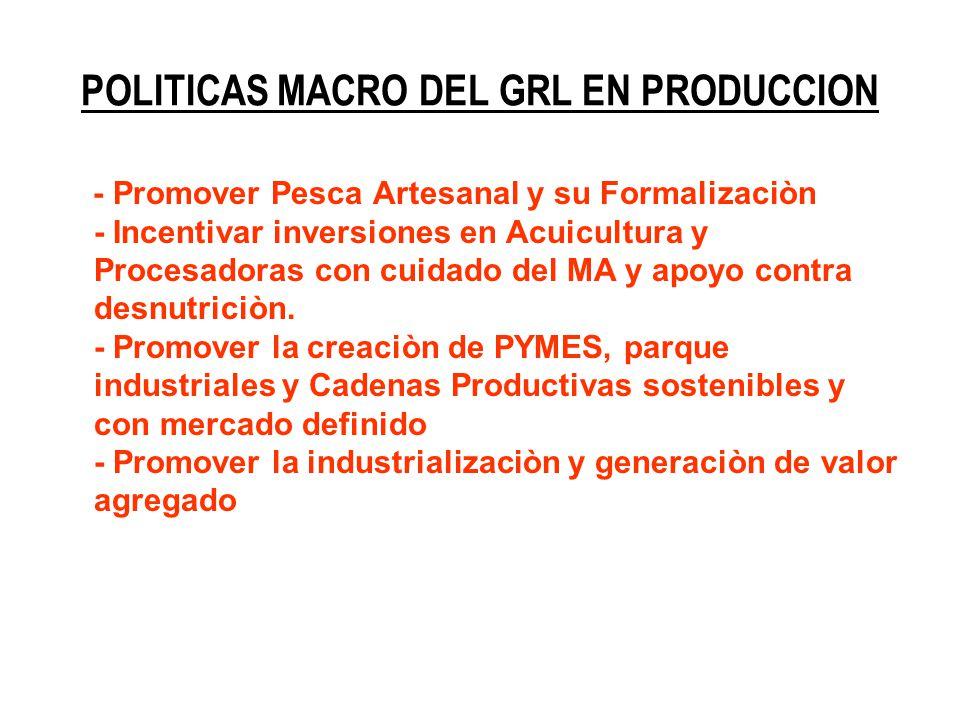 POLITICAS MACRO DEL GRL EN PRODUCCION - Promover Pesca Artesanal y su Formalizaciòn - Incentivar inversiones en Acuicultura y Procesadoras con cuidado