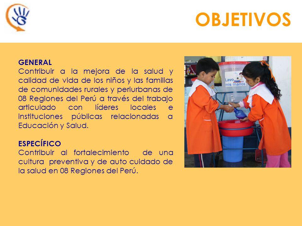 OBJETIVOS GENERAL Contribuir a la mejora de la salud y calidad de vida de los niños y las familias de comunidades rurales y periurbanas de 08 Regiones del Perú a través del trabajo articulado con líderes locales e instituciones públicas relacionadas a Educación y Salud.