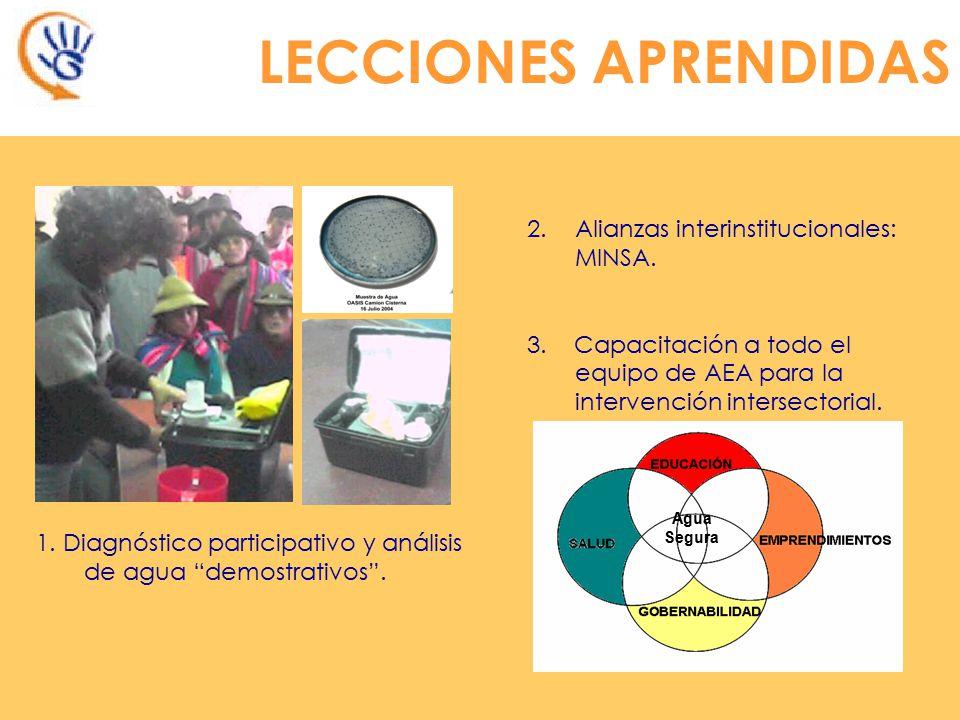1.Diagnóstico participativo y análisis de agua demostrativos.