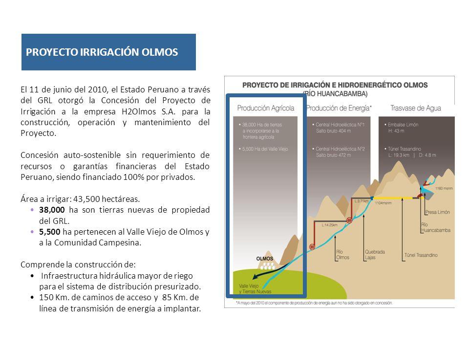 PROYECTO IRRIGACIÓN OLMOS El 11 de junio del 2010, el Estado Peruano a través del GRL otorgó la Concesión del Proyecto de Irrigación a la empresa H2Olmos S.A.