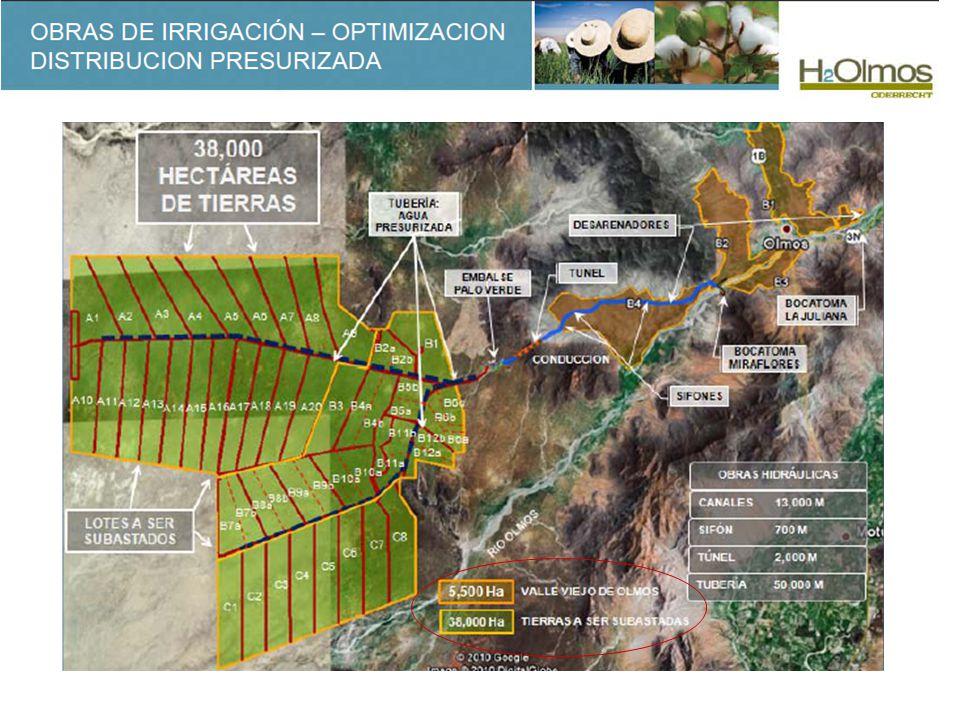 Bocatoma Miraflores: Ubicada sobre el río Olmos en la cota 140.