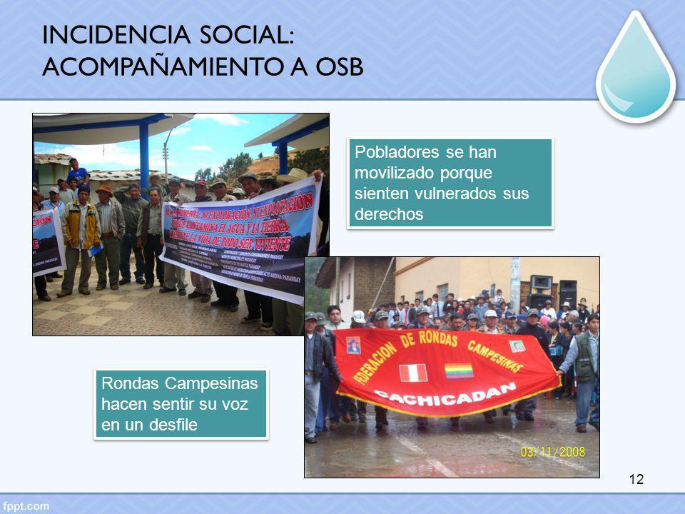 12 Pobladores se han movilizado porque sienten vulnerados sus derechos Rondas Campesinas hacen sentir su voz en un desfile INCIDENCIA SOCIAL: ACOMPAÑA