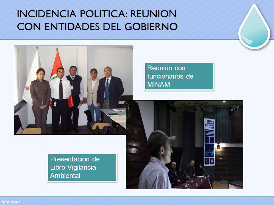 Reunión con funcionarios de MINAM Presentación de Libro Vigilancia Ambiental INCIDENCIA POLITICA: REUNION CON ENTIDADES DEL GOBIERNO