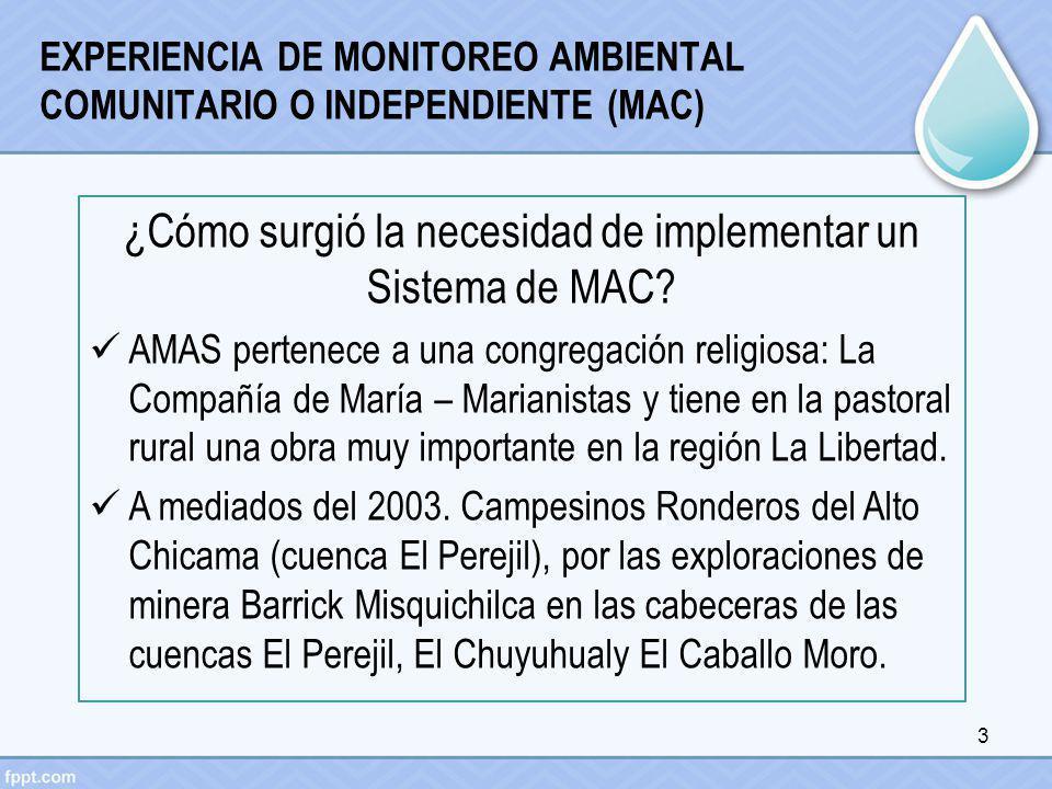 EXPERIENCIA DE MONITOREO AMBIENTAL COMUNITARIO O INDEPENDIENTE (MAC) ¿Cómo surgió la necesidad de implementar un Sistema de MAC? AMAS pertenece a una