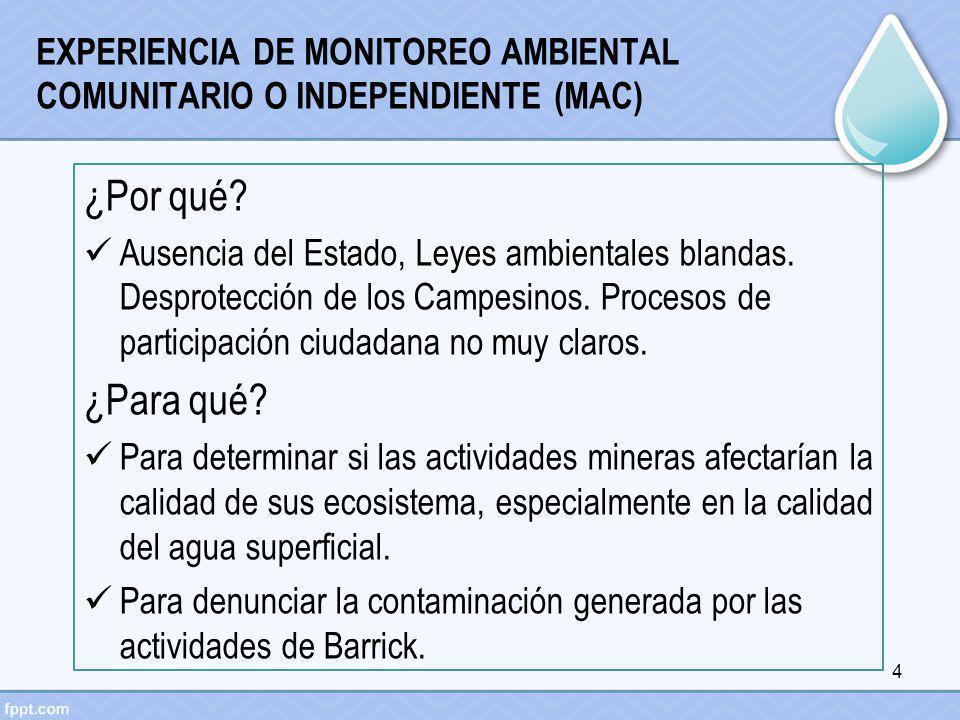 EXPERIENCIA DE MONITOREO AMBIENTAL COMUNITARIO O INDEPENDIENTE (MAC) ¿Por qué? Ausencia del Estado, Leyes ambientales blandas. Desprotección de los Ca