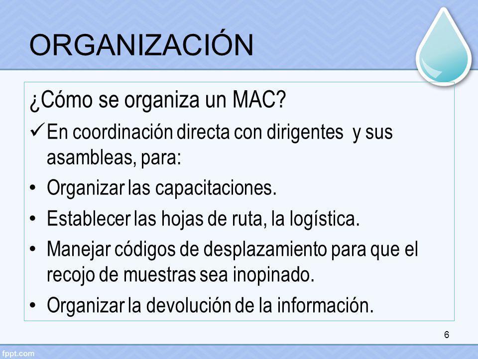 ORGANIZACIÓN ¿Cómo se organiza un MAC? En coordinación directa con dirigentes y sus asambleas, para: Organizar las capacitaciones. Establecer las hoja