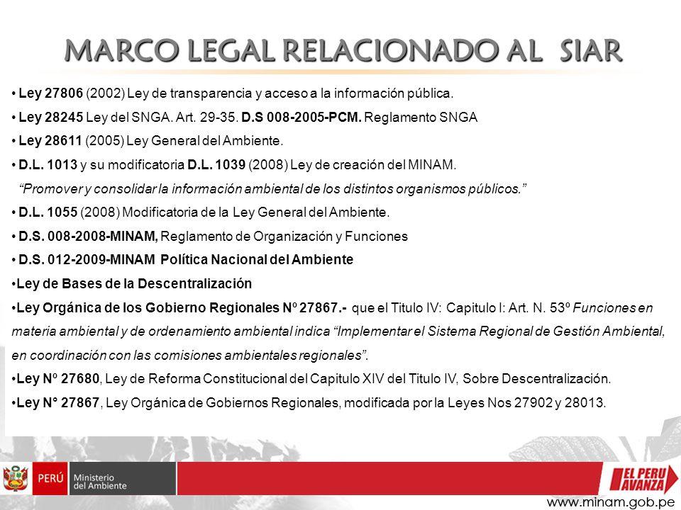 MARCO LEGAL RELACIONADO AL SIAR Ley 27806 (2002) Ley de transparencia y acceso a la información pública. Ley 28245 Ley del SNGA. Art. 29-35. D.S 008-2
