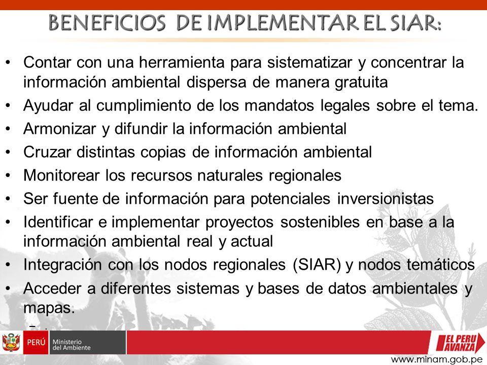 Contar con una herramienta para sistematizar y concentrar la información ambiental dispersa de manera gratuita Ayudar al cumplimiento de los mandatos
