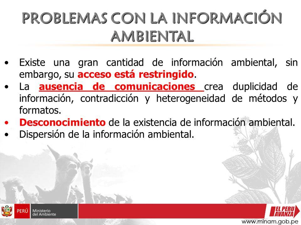 Existe una gran cantidad de información ambiental, sin embargo, su acceso está restringido. La ausencia de comunicaciones crea duplicidad de informaci