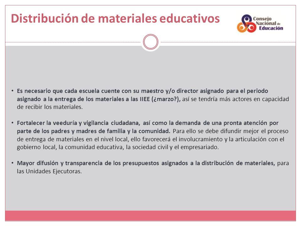 Distribución de materiales educativos Es necesario que cada escuela cuente con su maestro y/o director asignado para el periodo asignado a la entrega de los materiales a las IIEE (¿marzo?), así se tendría más actores en capacidad de recibir los materiales.