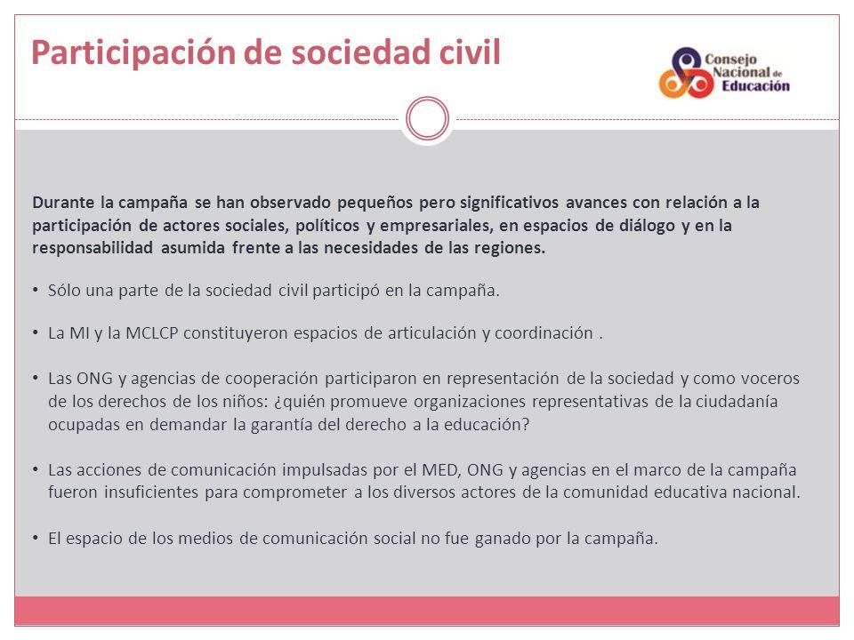 Durante la campaña se han observado pequeños pero significativos avances con relación a la participación de actores sociales, políticos y empresariales, en espacios de diálogo y en la responsabilidad asumida frente a las necesidades de las regiones.