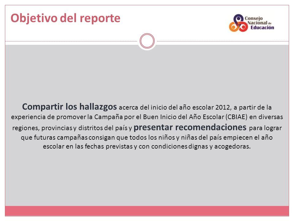 Objetivo del reporte Compartir los hallazgos acerca del inicio del año escolar 2012, a partir de la experiencia de promover la Campaña por el Buen Ini
