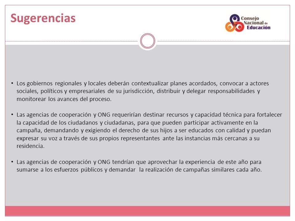 Los gobiernos regionales y locales deberán contextualizar planes acordados, convocar a actores sociales, políticos y empresariales de su jurisdicción, distribuir y delegar responsabilidades y monitorear los avances del proceso.