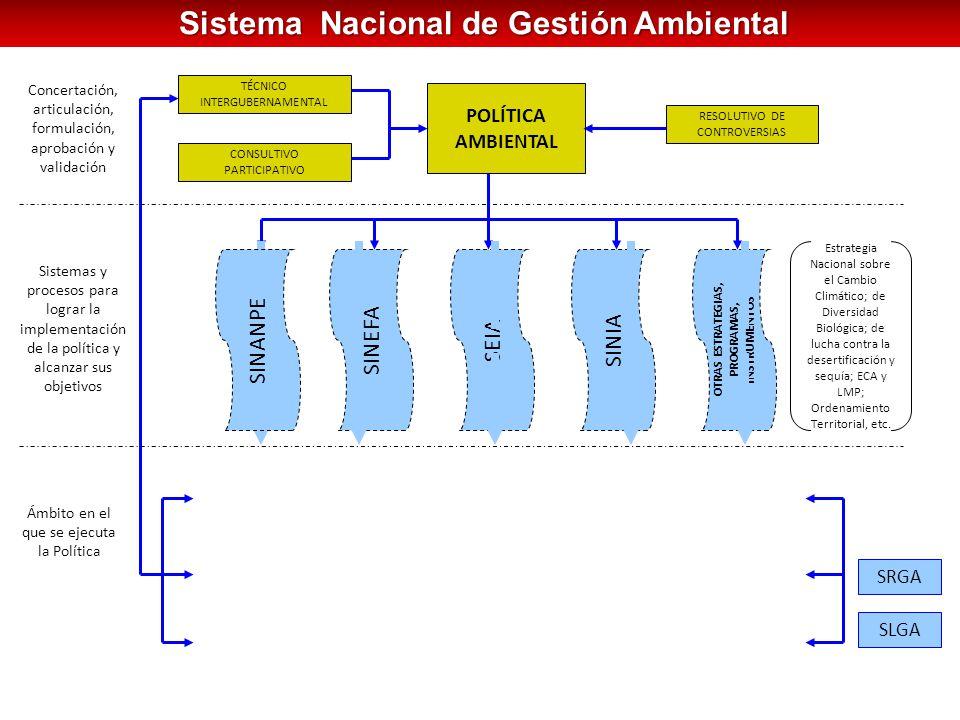 GOBIERNO NACIONAL (Organismos sectoriales y adscritos al MINAM) GOBIERNO REGIONAL GOBIERNO LOCAL POLÍTICA AMBIENTAL TÉCNICO INTERGUBERNAMENTAL CONSULT