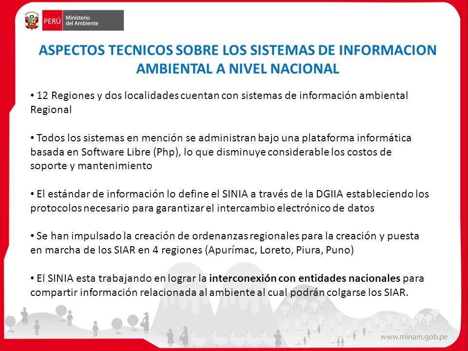 12 Regiones y dos localidades cuentan con sistemas de información ambiental Regional Todos los sistemas en mención se administran bajo una plataforma