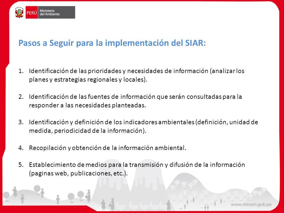 1.Identificación de las prioridades y necesidades de información (analizar los planes y estrategias regionales y locales). 2.Identificación de las fue