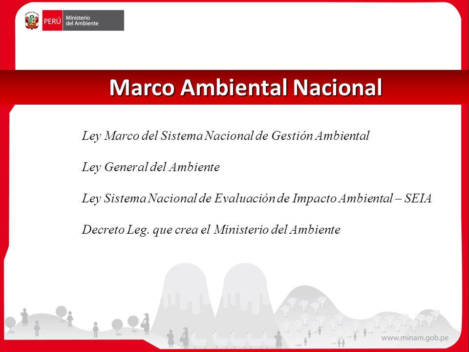Marco Ambiental Nacional Marco Ambiental Nacional Ley Marco del Sistema Nacional de Gestión Ambiental Ley General del Ambiente Ley Sistema Nacional de