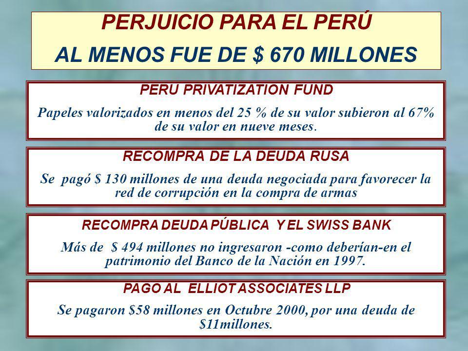 6 PERJUICIO PARA EL PERÚ AL MENOS FUE DE $ 670 MILLONES RECOMPRA DEUDA PÚBLICA Y EL SWISS BANK Más de $ 494 millones no ingresaron -como deberían-en el patrimonio del Banco de la Nación en 1997.